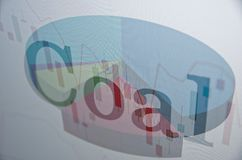 Coal. Financial concept. Inscription Coal on PC screen Stock Image