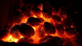 Coal and fire stock footage