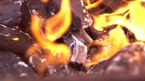 Coal and fire close up shot stock video footage