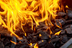 Coal and fire flame Stock Photography