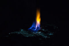 Coal fire flames. Coal and fire flames in dark room Stock Photo