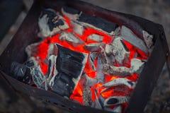 Coal fire glow Stock Photo