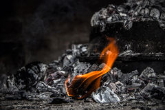 Coal on fire Stock Images
