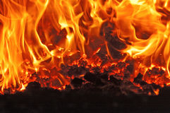 Coal fire. Inside steam boiler Royalty Free Stock Photography