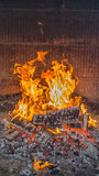 Coal and fire. LG-H815. Flame at fireplace for bbq Royalty Free Stock Image