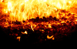 Coal fire. Look on Coal fire inside steam boiler Royalty Free Stock Photos