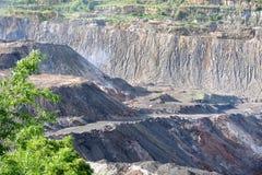 Coal fire in opencast coal mine Stock Photos