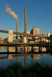 Coal fired power plant. Amsterdam, harbour, Hemweg electricity plant at sunset Royalty Free Stock Photo