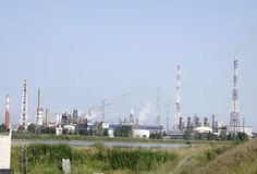 Coal fired power plant lots of towers. stock images