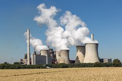 Coal-fired power plant near lignite mine Garzweiler in Germany stock images