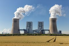 Coal-fired power plant near lignite mine Garzweiler in Germany stock photos