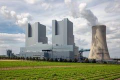 Coal-fired power plant near lignite mine Garzweiler in Germany. View at Coal-fired power plant near lignite mine garzweiler in Germany stock images
