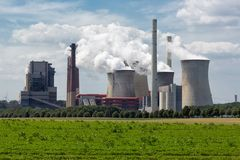 Coal-fired power plant near lignite mine Garzweiler in Germany stock photo