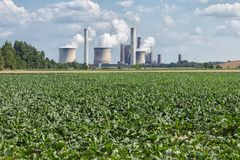 Coal-fired power plant near lignite mine Inden in Germany stock images