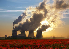Coal Fired Power Plant and Poppy Field. Cooling towers of a coal-fired power plant near a poppy field in Lincolnshire in the United Kingdom Royalty Free Stock Photos