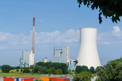 Coal-fired power plant on the Rhine. Opposite the ferry dock in Orsay Royalty Free Stock Photos