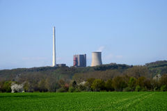 Coal fired power plant. Scenic view of coal fired power plant in countryside Stock Photo