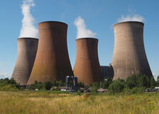 Coal fired power station. With cooling towers releasing steam into atmosphere stock photography