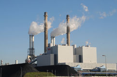Coal fired powerplant. A coal and biomass fired powerplant in Rotterdam, Netherlands stock photography