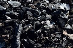 Coal fragments detail. Detail view on coal fragments royalty free stock image