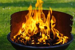 Coal grill flame Royalty Free Stock Photography