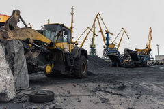 Coal handling operations at the port. Royalty Free Stock Photos
