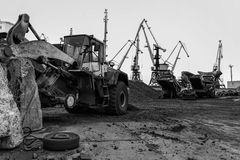Coal handling operations at the port. Stock Image