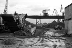 Coal handling operations at the port. Royalty Free Stock Images