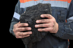 Coal in the hands of a miner. close-up Stock Photo