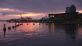 Coal Harbor Dawn, Convention Center, Vancouver stock video footage