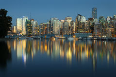 Coal Harbor, Evening Twilight, Vancouver Stock Images