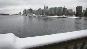 Coal Harbor Snow, Vancouver 4K. UHD stock video