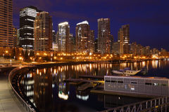 Coal Harbor Towers Night, Vancouver Stock Image