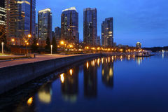 Coal Harbor Towers, Twilight, Vancouver Royalty Free Stock Photo