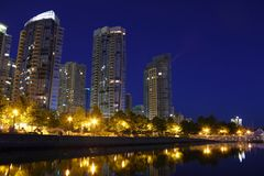 Coal Harbor Twilight, Vancouver Stock Image
