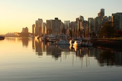 Coal Harbor Vancouver, Morning Light Stock Photo