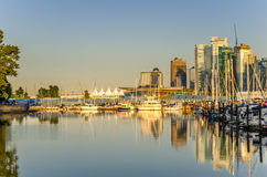 Coal Harbour and Vancouver Skyline at Sunset Royalty Free Stock Images