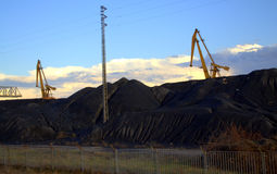 Coal heaps Thermoelectric power plant Stock Image