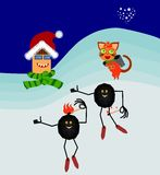 Coal and heating cartoon figures background. Coal and heating cartoon figures in winter landscape Stock Image