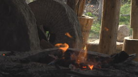 Coal for Heating Iron stock video footage