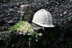 Coal and helmet Royalty Free Stock Photos