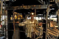 Coal India. A coal mine worker in the lift Royalty Free Stock Images