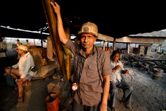 Coal India Worker. Underground coal mine worker going for night shift Stock Images