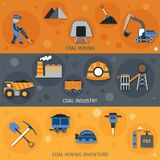 Coal Industry Banners. Coal industry horizontal banners set with mining inventory elements vector illustration stock illustration