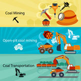 Coal industry banners set Royalty Free Stock Image