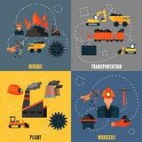 Coal industry flat set Royalty Free Stock Photo