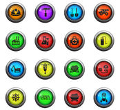 Coal industry icon set. Coal industry icons on color round glass buttons for your design Stock Photos