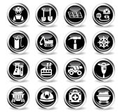 Coal industry icon set. Coal industry icons on stylish round chromed buttons Stock Photography