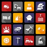 Coal industry icons flat Stock Photos