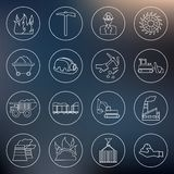 Coal industry icons outline Stock Photos